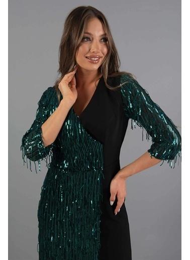 Carmen  Saçaklı Payet Dekolteli Kısa Abiye Elbise Yeşil